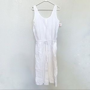 NWT cloth & stone white cotton jumpsuit size small